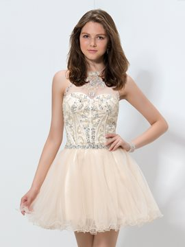 Ericdress A-Line Halter Beaded Short Homecoming Dress