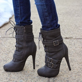 Ericdress Gorgeous Lace-up High Heel Boots with Buckles