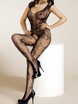 Ericdress Black Mesh Floral Open Crotch Pantyhose Bodystocking