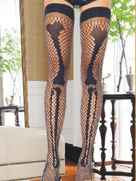 Ericdress Black Sensual Fishnet Bone Pattern Stocking