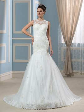Ericdress Beautiful Jewel Mermaid Wedding Dress