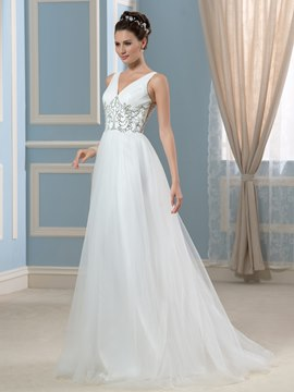 Ericdress Simple V Neck Beading A Line Wedding Dress