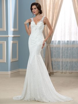 Ericdress Elegant V Neck Mermaid Lace Wedding Dress