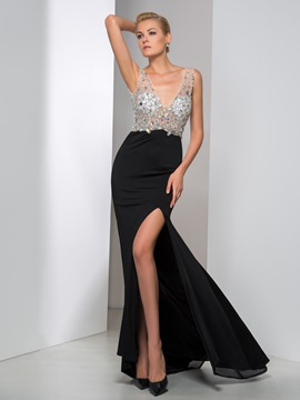 Ericdress Deep-V Neck Beaded Side-Split Sheath Evening Dress