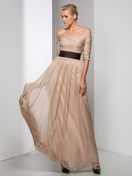 Ericdress Off-The-Shoulder Ribbon Pleats Evening Dress
