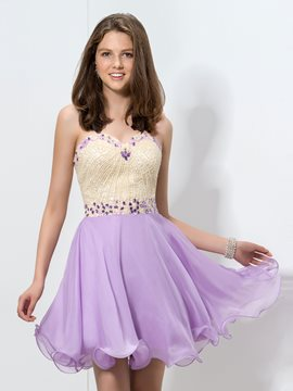 Ericdress Swetheart Ruffles perles Homecoming robe