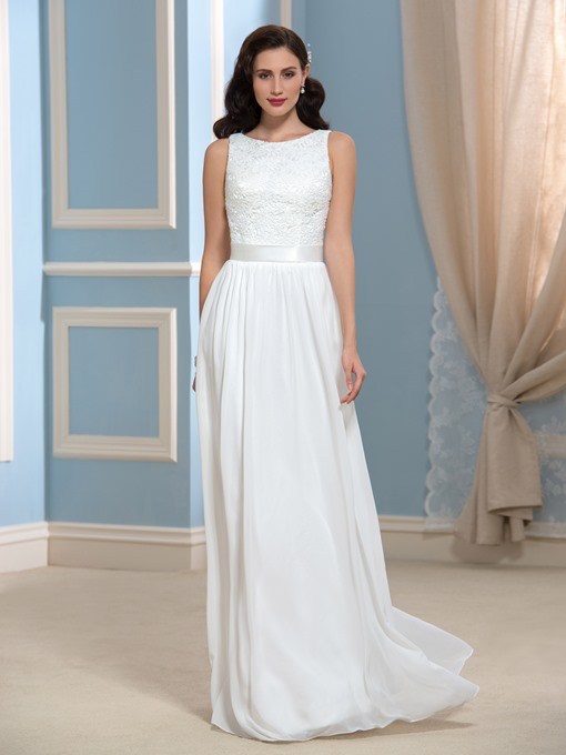 Ericdress Simple A Line Lace Beach Wedding Dress