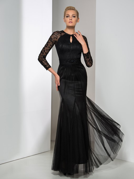 Ericdress Long Sleeve Sheath Pearl Floor-Length Evening Dress