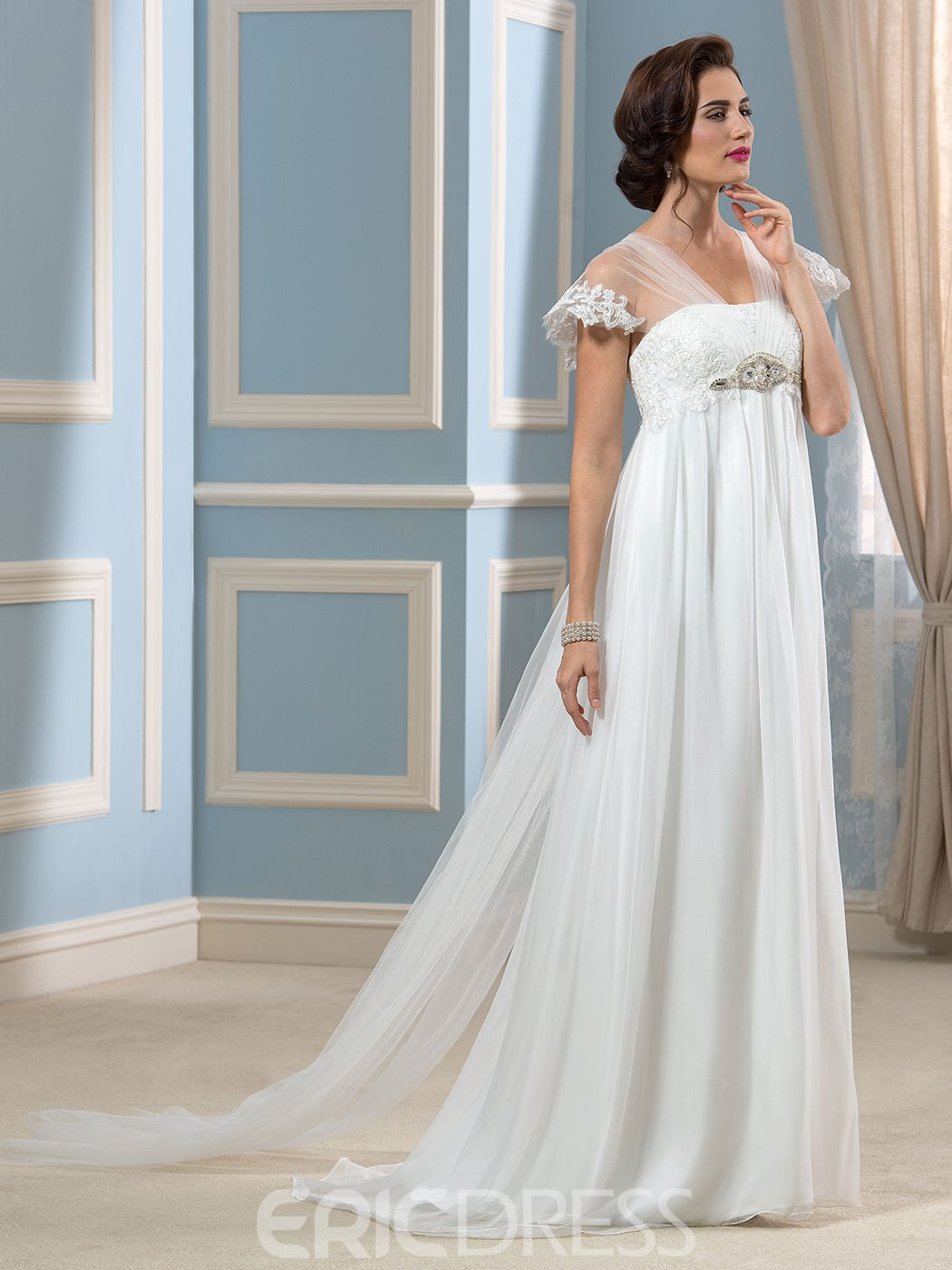Ericdress Simple V Neck Appliques Beading Empire Wedding Dress