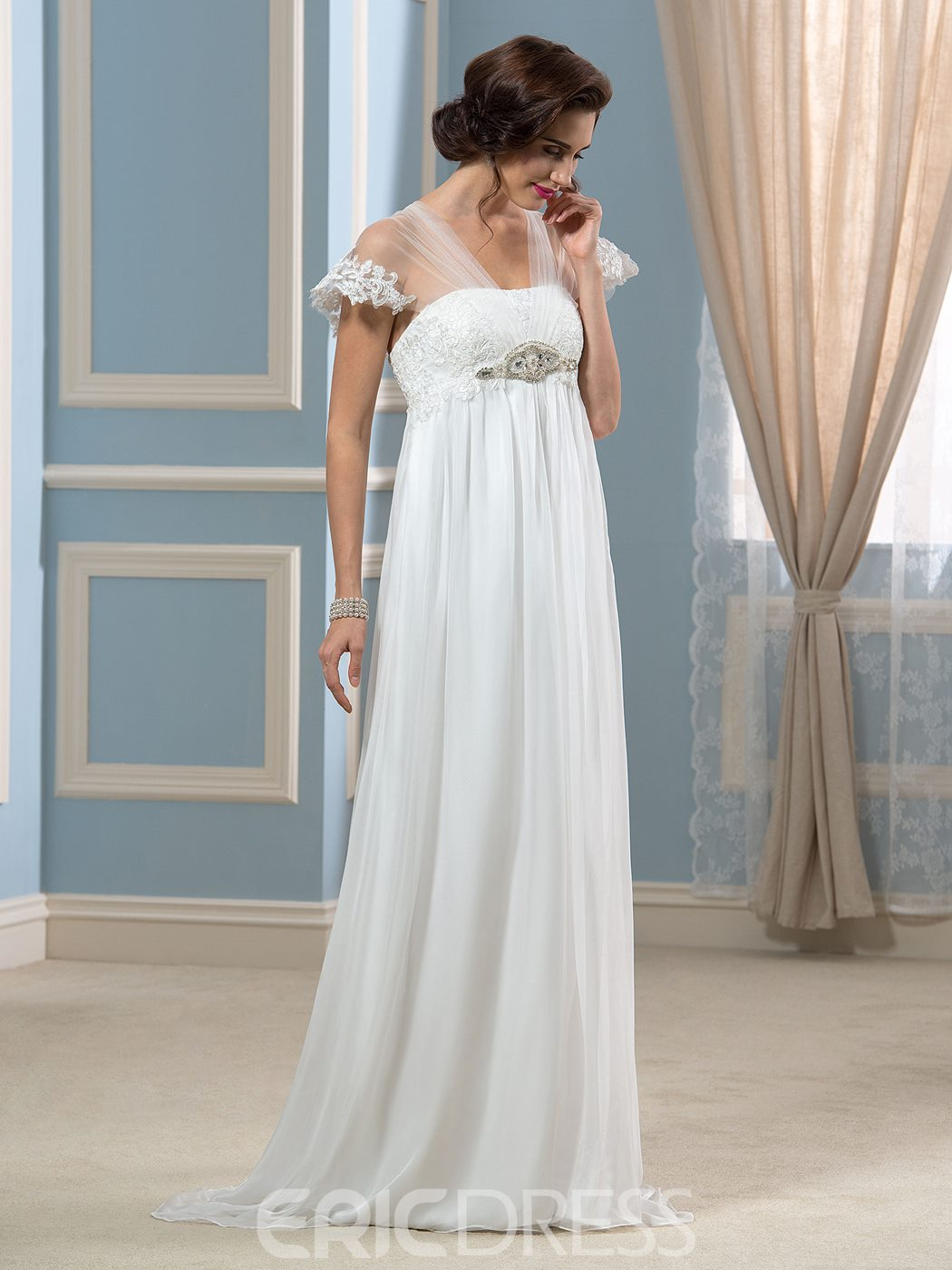 Ericdress Appliques Beading Maternity Wedding Dress
