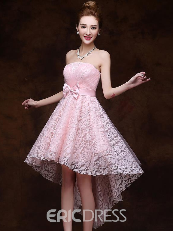 Ericdress Strapless A-Line Asymmetric Bow Lace Homecoming Dress