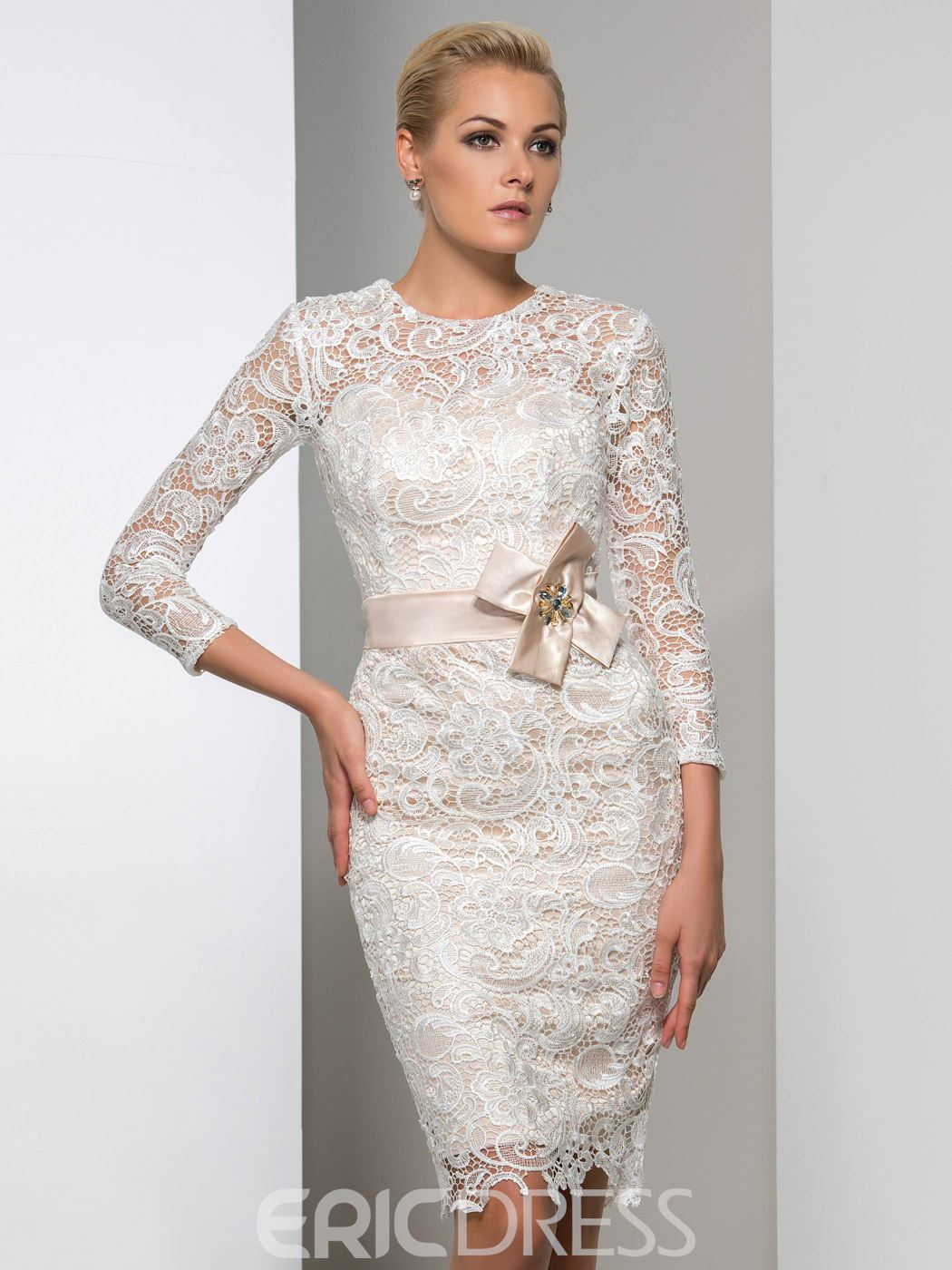Ericdress Long Sleeve Bowknot Lace Cocktail Dress 11436281 ...