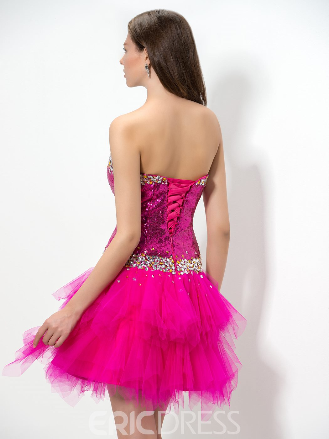 Ericdress Sweetheart Sequins Tiered Homecoming Dress