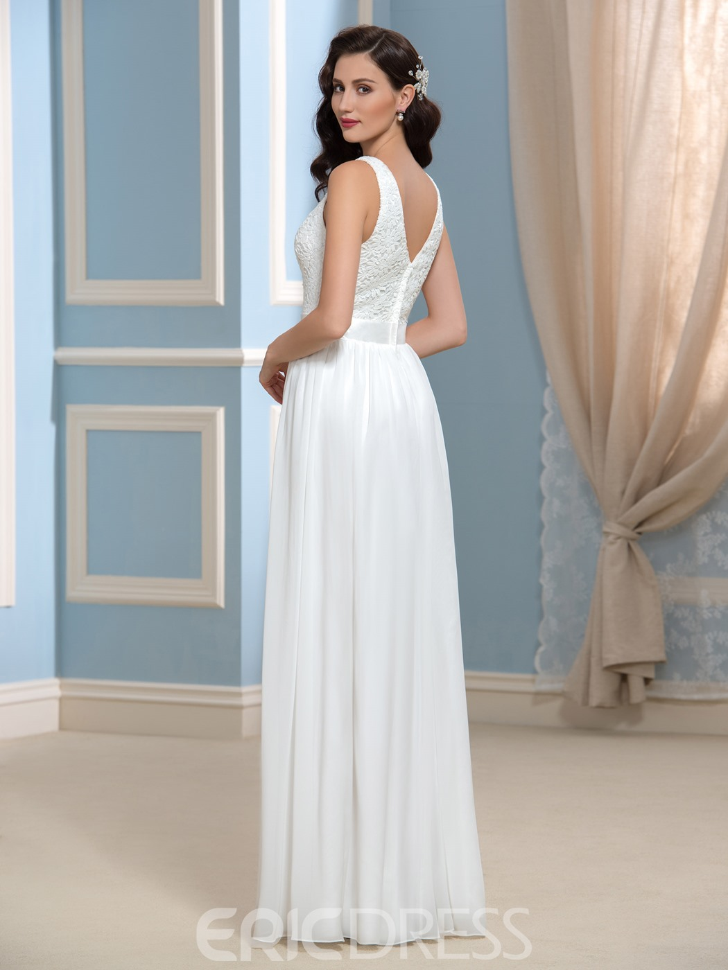 Ericdress Simple A Line Lace Long Wedding Dress