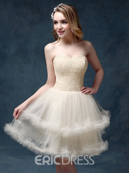 Ericdress A-Line Sweetheart Lace Mini Homecoming Dress