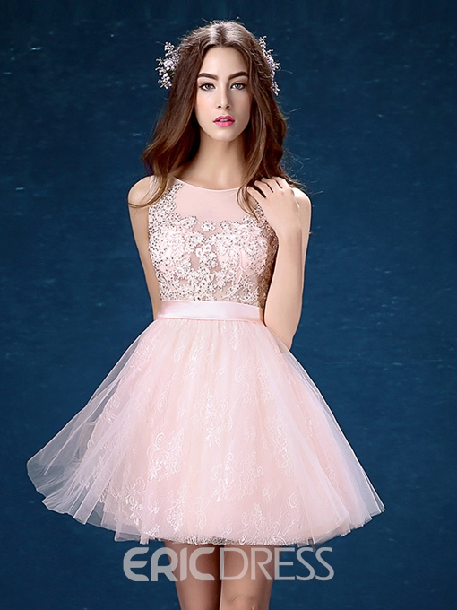 Ericdress Round Neck A-Line Lace Beading Mini Homecoming Dress