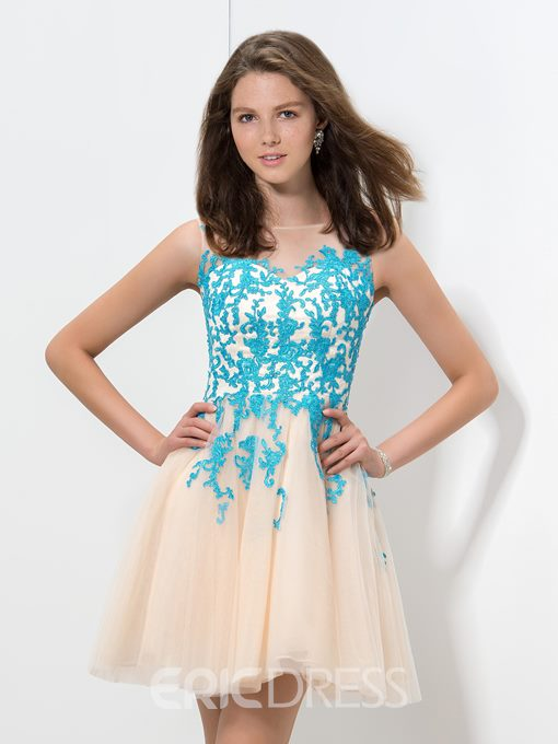 Ericdress Sheer Neck Appliques Short Homecoming Dress