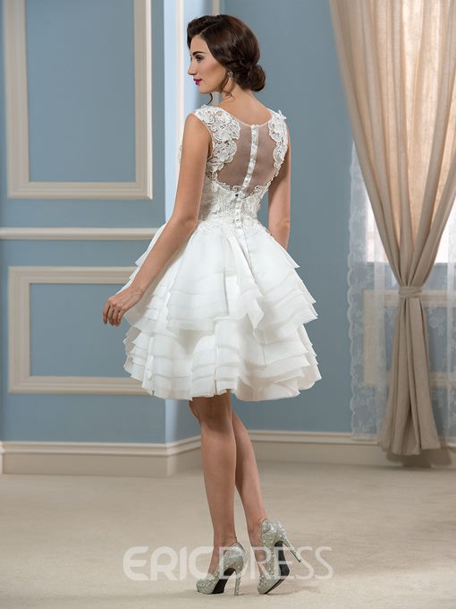 Ericdress Button Tiered Lace Short Beach Wedding Dress