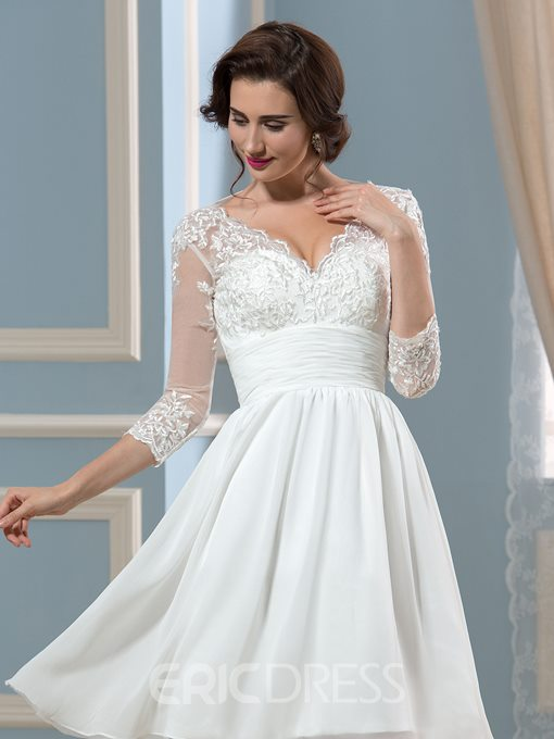 Ericdress Pretty V Neck Knee Length Peception Wedding Dress