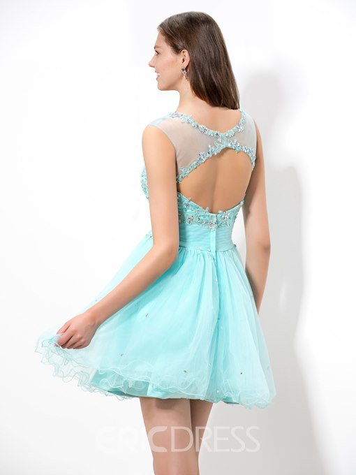 Ericdress Sheer Neck Piping Open Back Homecoming Dress