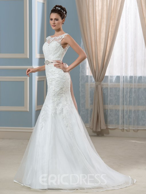 Ericdress Elegant Bateau Appliques Backless Mermaid Wedding Dress