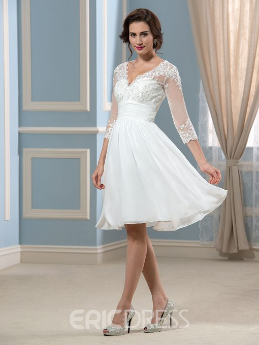 Ericdress 3/4 Length Sleeve Short Beach Wedding Dress
