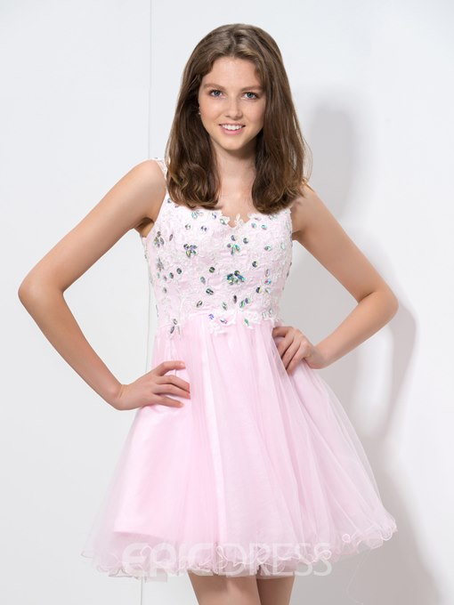 Ericdress Straps Open Back Homecoming Dress