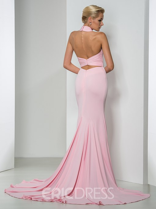 Ericdress Sexy Halter Court Train Mermaid Evening Dress