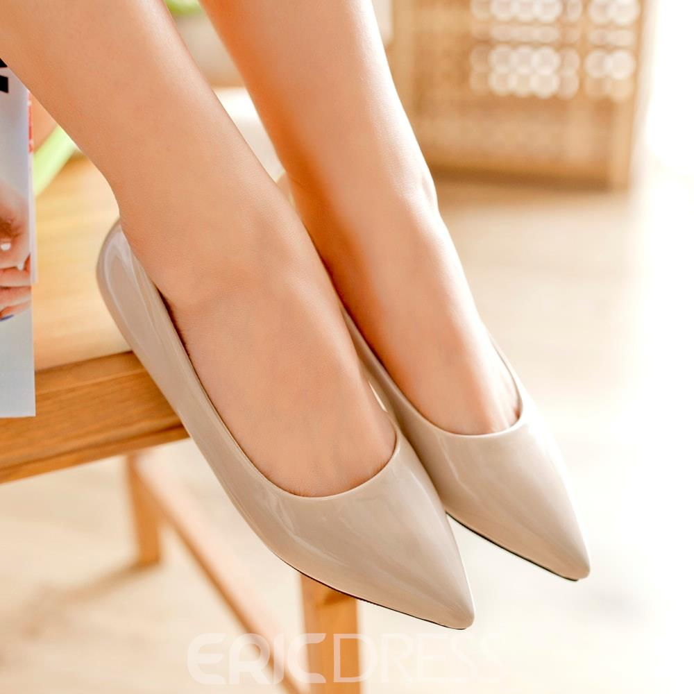 Ericdress Patent Leather Pointed-toe Flats