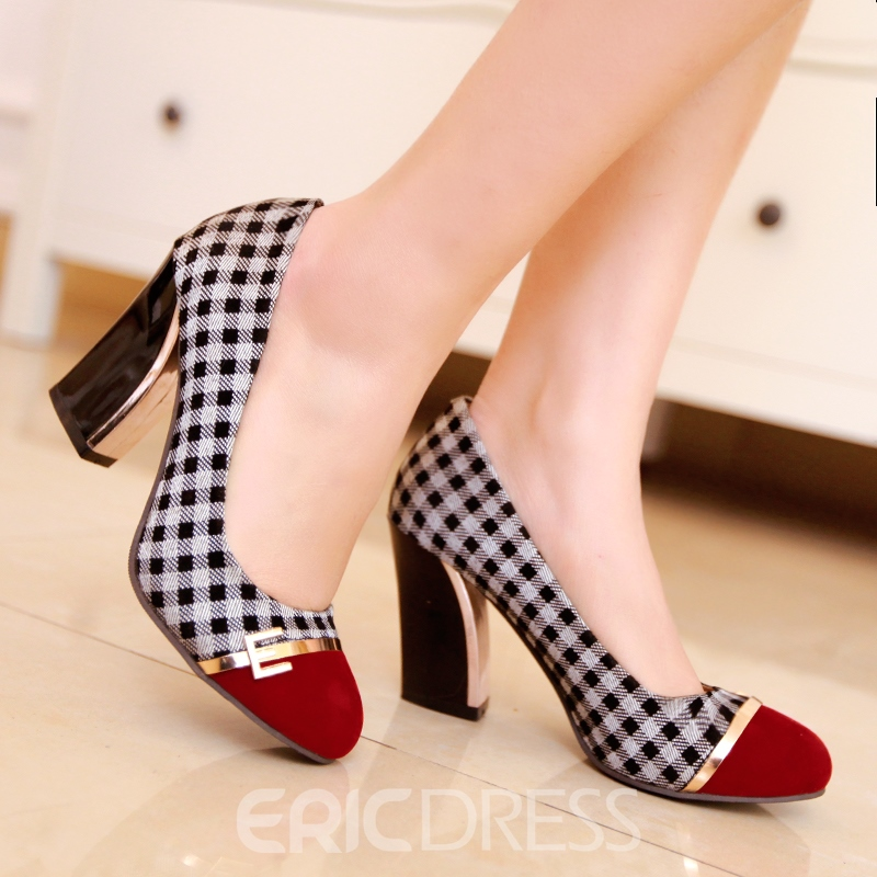 Ericdress Grid Patchwork Chunky-heel Pumps