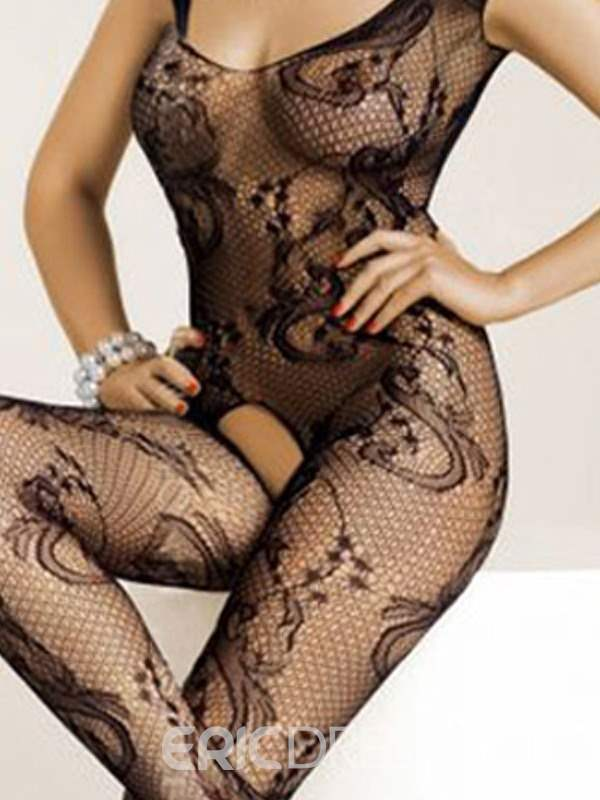 Ericdress Black Mesh Floral Open Crotch Pantyhose