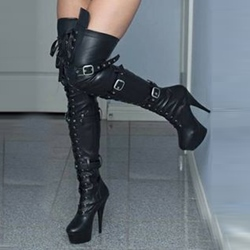 Ericdress Cool Rivets&buckles Decorated Knee High Boots
