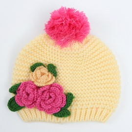 Wonderful Flower Decorated Lovely Kids Knitted Hat