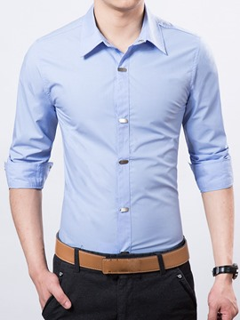 Ericdress Plain Unique Single-Breasted Men's Shirt