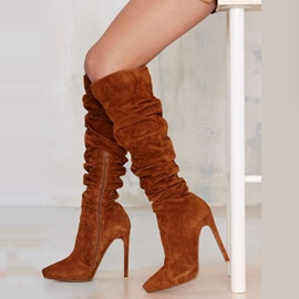 Ericdress Suede Point Toe Side Zip Knee High Boots