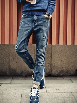 Ericdress Holes Denim Men's Pencil Pants