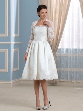 Ericdress Strapless Appliques Short Wedding Dress with Jacket