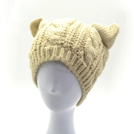 Cute Cat Ear Decorated Female Knitted Hat