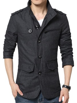 Ericdress Black Zip Stand Collar Men's Woollen Coat
