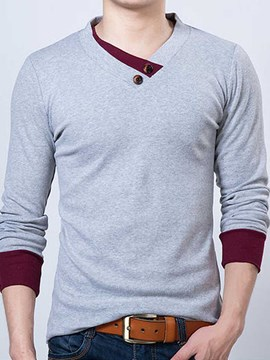 Ericdress Long Sleeve V-Neck Button Decorated Men's T-Shirt