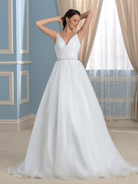 Ericdress Simple Spaghetti Straps Backless A Line Wedding Dress