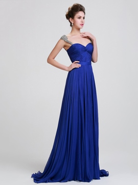 Ericdress Straps Pleats Beading Ribbon Evening Dress