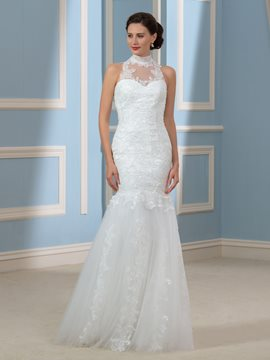 Ericdress Charming High Neck Sleeves Mermaid Wedding Dress