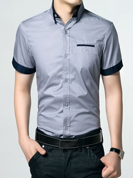 Ericdress Patched Short Sleeve Men's Shirt