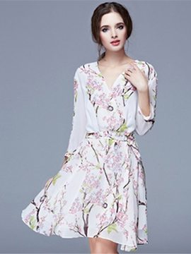 Ericdress FloralLong Sleeves A-Line Dress