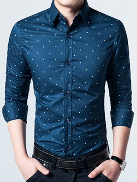 Ericdress Vogue Polka Dots Long Sleeve Men's Shirt