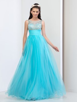 Ericdress A-Line Sheer Neck Beading Prom Dress