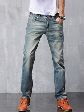 Ericdress Worn Denim Casual Men's Pants