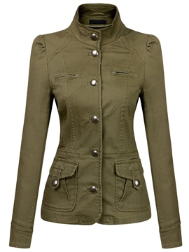 Ericdress Stand Collar Single-Breasted Jacket