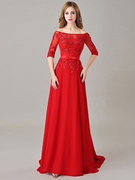 Ericdress Bateau Half Sleeve Appliques Sequins Long Evening Dress